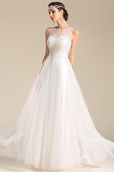 eDressit A Line Sleeveless Lace Applique Reception Wedding Dress (01151107)