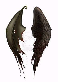 half devil half angel tattoos | Angel Devil Wings Tattoo Designs