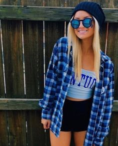 10 Adorable Gameday Outfits at UK - Society19 Blue Flannel Outfit 057010bdc