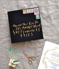 Oh So Beautiful Paper: Black, White, and Gold Foil Destination Wedding Invitations