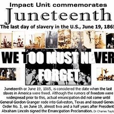 FEED | Websta - 1865). Juneteenth is the oldest known celebration commemorating the end of slavery. It was on June 19, 1865 that the Union soldiers landed in Galveston, Tx with news the war ended  the enslaved were now free. (2 1/2 yrs after President Lincoln's Emancipation Proclamation) which had become official January 1, 1863. The Emancipation Proclamation had little impact on the Texans due to the minimal number of Union troops to enforce the new Executive Order.