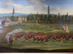 British;42nd Regt of Foot(Black Watch) being reviewed on Glasgow Green c.1758