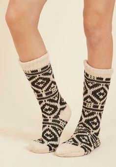 Let the Chance Slipper By Socks - White, Black, Print, Fairisle, Lounge, Folk Art, Fall, Winter, Better, Crew