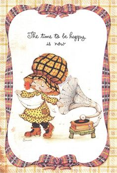 """girlsgonevinyl: """"The time to be happy is now """" Sarah Kay, Vintage Cards, Vintage Postcards, Disney Pictures, Cute Pictures, Princesa Ariel Disney, Holly Hobbie, Precious Children, Cute Dolls"""
