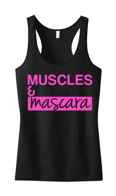 MUSCLES MASCARA #Workout Tank Black with pink. by NobullWomanApparel, $24.99 on Etsy. #Fitness #Mascara