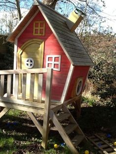Fairytale Pink Crooked Cottage Tower Wooden Playhouse, Treehouse With Slide