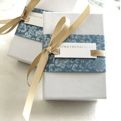 name plate with patterned paper and ribbon | 2009 Packaging/Gift Wrap by shopsomethingblue, via Flickr