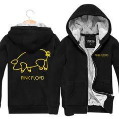 Pink Floyd Rock Band Fashion Mens Hoodies And Sweatshirts Zip Cardigan Thickening Plus Velvet Jacket Winter Coat Hoody