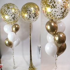 Confetti: gold and white Balloons: standard matte white and Chrome Gold Right includes gold shimmer tassel 50th Birthday Themes, 20 Birthday Cake, Disco Birthday Party, Adult Birthday Cakes, 20th Birthday, Birthday Parties, Clear Balloons, White Balloons, Confetti Balloons