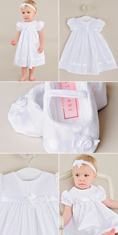 Our newest slipper, the Sarah is a perfect match for our Sarah dress. Simple with delicate floral details she'll love. Christening Gowns For Girls, Girls Baptism Dress, Baby Girl Party Dresses, Flower Girl Dresses, Name Embroidery, White Fabrics, Perfect Match, Slippers, Delicate