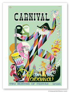 Carinival * Havana, Cuba #tourism #poster by E. Caravia (1948)