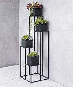 Quadrant Plant Stands: Geometric stands in steel with matte black powder-coat finish comes with four planters.