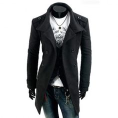 Fashion Style Solid Color Turndown Collar Double-Breasted Long Sleeves Woolen Black Trench Coat For Men