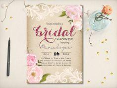 Rustic Elegant Bridal Shower Invitation Kraft by VintageBellsAndCo