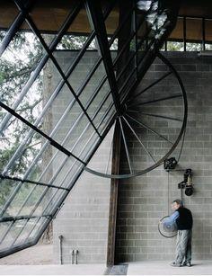 Industrial crank window - Chicken Point Cabin - Olson Sundberg Kundig Allen Architects