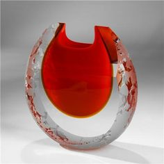 Pavel Havelka-Lagoon Art Glass Vase - Red and Amber - Iced