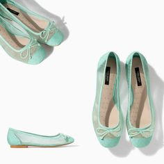 NWT ZARA SWISS DOT BALLERINA FLAT Sea Green US 7.5, 9 #ZARA #BalletFlats
