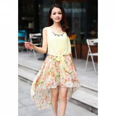 $11.25 Fashionable Tiny Floral Print Splicing High-low Hem Dresses For Women