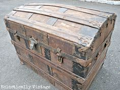 "1800""S Antique trunk made by the M & M Sager Co. In New York"