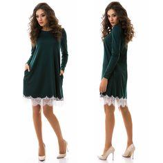 Stylish ladies dark green french jersey shift dress #shift #dress
