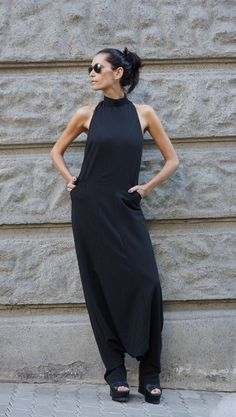 NEW Collection AW 2015 Sexy Black Polyviscose  Drop Crotch Jumpsuit / Party…