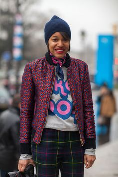 Tamu McPherson is a master of the mixed print Street Style Paris #Fashion Week Fall 2013 #pfw