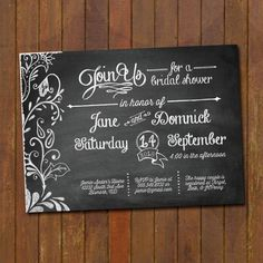 Chalkboard Wedding Shower Invitations by gwenmariedesigns on Etsy, $15.00