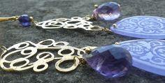 purplerain_earrings in silver, purple jade