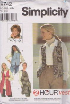 Misses Set Of Vests Simplicity Sewing Pattern 9742 (Size BB: L, XL)