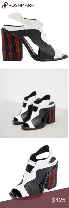 1dd294282f9 Proenza Schouler Stripe Block Heel Open Toe 39 Brand New In Box Two-tone