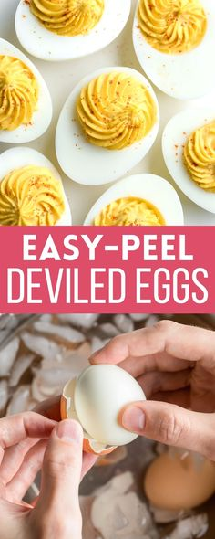 Tips for my go-to easy-peel hard boiled eggs and a recipe for the best Deviled Eggs ever! These easy Deviled Eggs are always a crowd favorite, and for good reason too! They're fast, flavorful, easy to make, and even easier to EAT! Egg Recipes, Low Carb Recipes, Appetizer Recipes, Whole Food Recipes, Snack Recipes, Snacks, Light Recipes, Paleo Recipes, Free Recipes