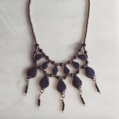 Natural stone necklace with beautiful had breaded lapis. This tibetan style statement necklace reminds me of vacationing under the sun with my feet in the sand