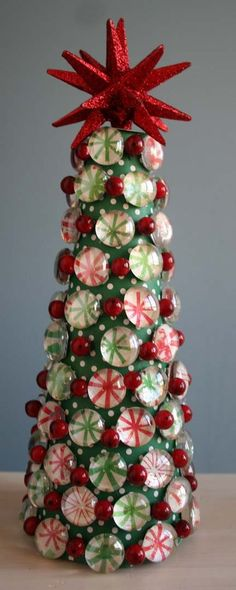 ~ Peppermint Pebbles Tree ~ Red Star, Clear Pebbles, Berries & Scrapbook Paper ~
