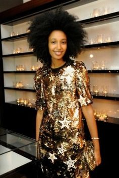 gold stars for you #JuliaSarrJamois. @ the Dolce & Gabbana after show party in Milan.