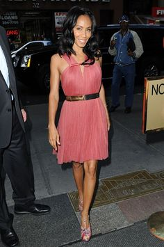Jada Pinkett Smith looks darling in a dusty rose pink Lanvin dress and Nicholas Kirkwood snakeskin sandals!