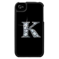 """K"" Diamond Bling iPhone 4 Speck Case by Stacey Lynn Payne"