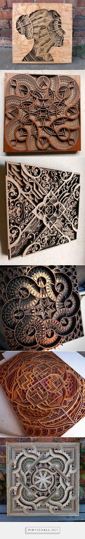 New Laser-Cut Wood Relief Sculptures by Gabriel Schama   Colossal - created via https://pinthemall.net