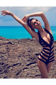 2015 black cut out striped monokini
