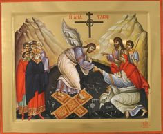"XC__ "" η Αναστασις"" _ΠΑΣΧΑ Resurrection icon. Harrowing of Hades. Byzantine Icons, Byzantine Art, Christ Is Risen, Jesus Christ, Day Of Pentecost, Greek Icons, Life Of Christ, Russian Icons, Christian Devotions"