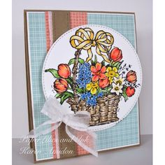 Serendipity Stamps Spring Basket Large rubber stamp