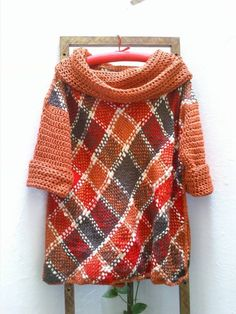 Sweter Largo Lana Merino Tejido En Telar Y Crochet Oferta - $ 380,00 en MercadoLibre