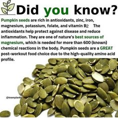 Who else loves pumpkin seeds?( - Eat more nuts and seeds as a way to get more healthy fats vitamins and minerals into Calendula Benefits, Matcha Benefits, Coconut Health Benefits, Moringa Benefits, Tomato Nutrition, Health And Nutrition, Health Tips, Health And Wellness, Nutrition Shakes