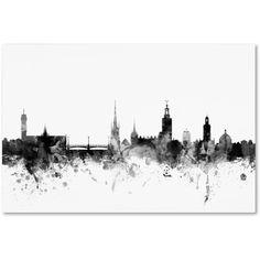 Trademark Fine Art Stockholm Sweden Skyline B Canvas Art by Michael Tompsett, Size: 12 x 19, Gray