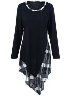 Plus Size Plaid Handkerchief T-Shirt in Black | Sammydress.com