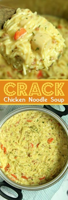 Crack Chicken Noodle Soup This easy homemade chicken noodle soup recipe is super creamy and delicious! The entire family loves it. Add a little cheese and bacon in there to take it up a notch. It will be a new favorite week night dinner recipe. Easy Homemade Chicken Noodle Soup Recipe, Chicken Noodle Soup Ingredients, Crack Chicken Noodle Soup, Noodle Recipes, Noodle Soups, Creamy Chicken In Crockpot, Easy Chicken Meals, Easy Chicken And Noodles, Chowders