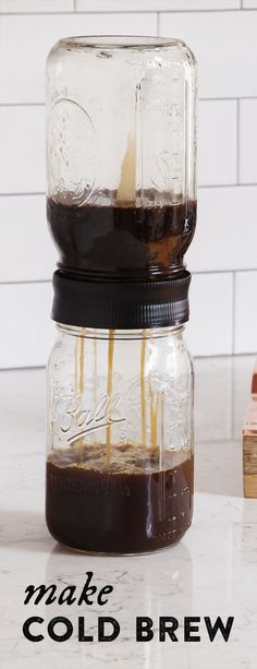 Cold Brew Mason Jar Filter by BRUW Transform your mason jars into a cold brew maker and enjoy the smoother, more flavorful, less acidic taste. This filter fits right over the wide mouths of two mason jars to sieve out the coffee grounds. Hot Coffee, Iced Coffee, Coffee Drinks, Nitro Coffee, Coffee Barista, Espresso Coffee, Starbucks Coffee, Coffee Brewers, Coffee Mugs