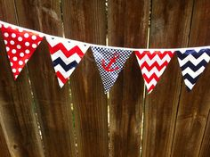 8 foot Fabric Pennant Banner by ThreeTinyMonkeys on Etsy, $16.00