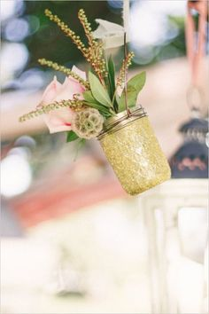 Gold mason jar -wedding decor