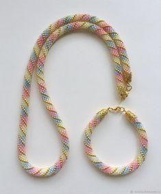 Bead crochet rope necklace and bracelet set Bead Crochet Patterns, Bead Crochet Rope, Beaded Jewelry Patterns, Bracelet Patterns, Beading Patterns, Crochet Beaded Bracelets, Beaded Necklace, Rope Necklace, Tear
