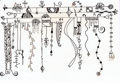 Another Zenspirations Dangle Design from Valencis Tangle 193 - I'm really liking Tangle Dangle lately Tangle Doodle, Tangle Art, Zen Doodle, Doodle Art, Doodle Borders, Doodle Patterns, Zentangle Patterns, Zentangle Drawings, Doodles Zentangles